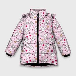 Детская зимняя куртка для девочки с принтом Зайчики, цвет: 3D-черный, артикул: 10213994306065 — фото 1