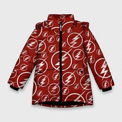 Куртка зимняя для девочки The Flash Logo Pattern цвета 3D-черный — фото 1