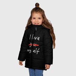 Куртка зимняя для девочки I Love myself цвета 3D-черный — фото 2