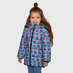 Куртка зимняя для девочки Губы Поп-арт - фото 2