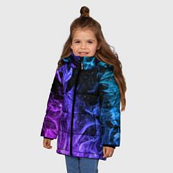 Куртка зимняя для девочки ОГОНЬ НЕОН цвета 3D-черный — фото 2