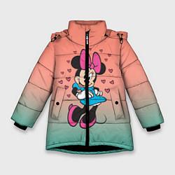 Детская зимняя куртка для девочки с принтом Минни Маус, цвет: 3D-черный, артикул: 10250094106065 — фото 1