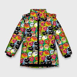 Куртка зимняя для девочки Папуги цвета 3D-черный — фото 1
