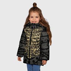 Куртка зимняя для девочки Стимпанк Скелет цвета 3D-черный — фото 2