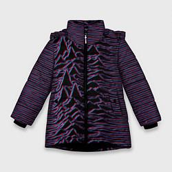Детская зимняя куртка для девочки с принтом Joy Division Glitch, цвет: 3D-черный, артикул: 10265920906065 — фото 1