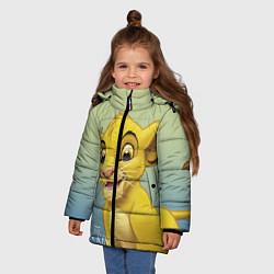 Куртка зимняя для девочки Юный Симба цвета 3D-черный — фото 2