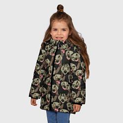 Куртка зимняя для девочки Африканские Гиены цвета 3D-черный — фото 2