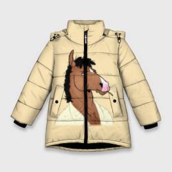Куртка зимняя для девочки Конь БоДжек цвета 3D-черный — фото 1