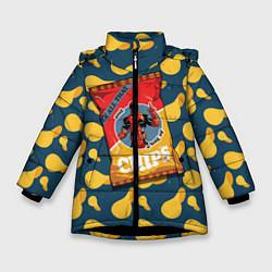 Детская зимняя куртка для девочки с принтом Deadpool чипсы, цвет: 3D-черный, артикул: 10275016306065 — фото 1