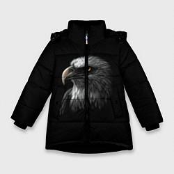 Детская зимняя куртка для девочки с принтом Орлан, цвет: 3D-черный, артикул: 10275111506065 — фото 1
