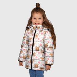 Куртка зимняя для девочки Оленята и цветы цвета 3D-черный — фото 2