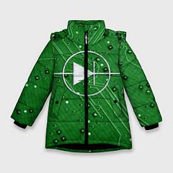Детская зимняя куртка для девочки с принтом Печатная плата и диод, цвет: 3D-черный, артикул: 10279647306065 — фото 1