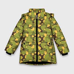 Куртка зимняя для девочки Сердечки камуфляж цвета 3D-черный — фото 1