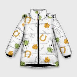 Куртка зимняя для девочки Клевер на День святого Патрика цвета 3D-черный — фото 1