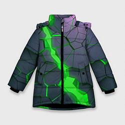 Куртка зимняя для девочки ЗЕЛЕНЫЙ РАЗЛОМ 3Д РАЗЛОМ цвета 3D-черный — фото 1