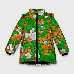 Куртка зимняя для девочки Ирландский клевер цвета 3D-черный — фото 1
