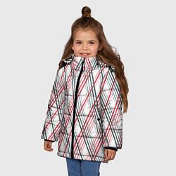 Куртка зимняя для девочки Игральные карты цвета 3D-черный — фото 2