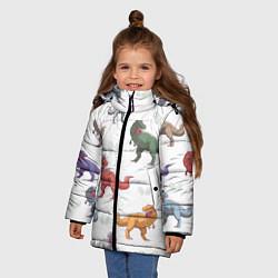 Куртка зимняя для девочки Разноцветные тираннозавры цвета 3D-черный — фото 2