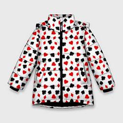Куртка зимняя для девочки Карточные Масти цвета 3D-черный — фото 1