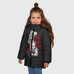 Куртка зимняя для девочки Карты цвета 3D-черный — фото 2