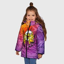 Куртка зимняя для девочки Орел с узором цвета 3D-черный — фото 2