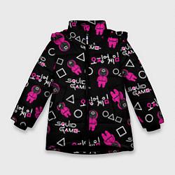 Куртка зимняя для девочки Игра в кальмара: Паттерн цвета 3D-черный — фото 1