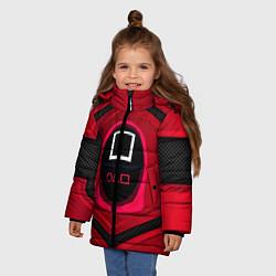 Куртка зимняя для девочки Игра в кальмара: бронь цвета 3D-черный — фото 2