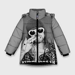 Куртка зимняя для девочки Кобейн в очках - фото 1