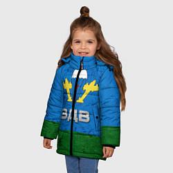 Детская зимняя куртка для девочки с принтом Флаг ВДВ, цвет: 3D-черный, артикул: 10064285306065 — фото 2