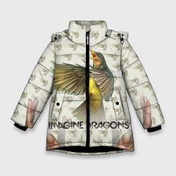 Детская зимняя куртка для девочки с принтом Imagine Dragons: Fly, цвет: 3D-черный, артикул: 10064383406065 — фото 1