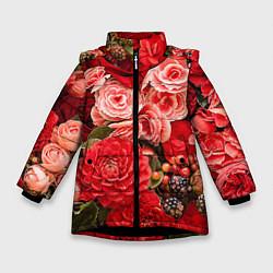 Детская зимняя куртка для девочки с принтом Ассорти из цветов, цвет: 3D-черный, артикул: 10067033606065 — фото 1