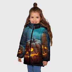 Куртка зимняя для девочки Тыква цвета 3D-черный — фото 2