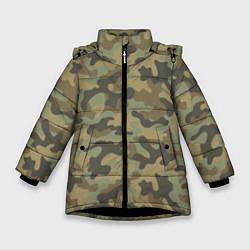 Куртка зимняя для девочки Камуфляж: хаки цвета 3D-черный — фото 1