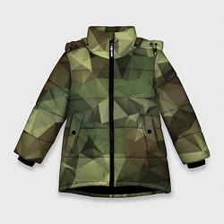 Куртка зимняя для девочки Полигональный камуфляж цвета 3D-черный — фото 1