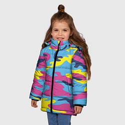 Куртка зимняя для девочки Камуфляж: голубой/розовый/желтый цвета 3D-черный — фото 2