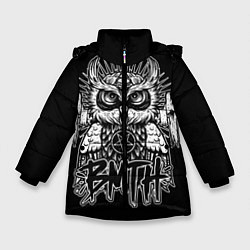 Детская зимняя куртка для девочки с принтом BMTH Owl, цвет: 3D-черный, артикул: 10073643806065 — фото 1