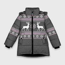Куртка зимняя для девочки Узор с оленями цвета 3D-черный — фото 1