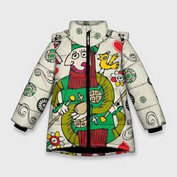 Детская зимняя куртка для девочки с принтом Червовый король, цвет: 3D-черный, артикул: 10079042306065 — фото 1