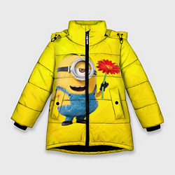 Куртка зимняя для девочки Цветочек цвета 3D-черный — фото 1