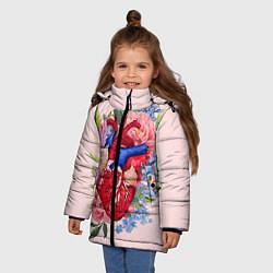Куртка зимняя для девочки Цветочное сердце цвета 3D-черный — фото 2