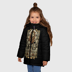 Куртка зимняя для девочки Лев цвета 3D-черный — фото 2