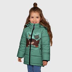 Куртка зимняя для девочки Пластилиновый смайл цвета 3D-черный — фото 2