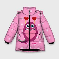Куртка зимняя для девочки Чудик с сердцем цвета 3D-черный — фото 1
