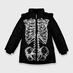 Куртка зимняя для девочки Скелет цвета 3D-черный — фото 1