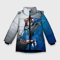 Куртка зимняя для девочки Баскетбол бросок цвета 3D-черный — фото 1