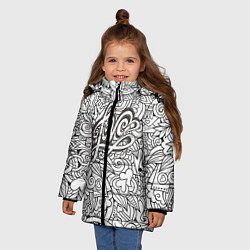 Куртка зимняя для девочки Love графика цвета 3D-черный — фото 2