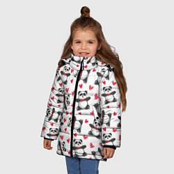 Куртка зимняя для девочки Любимые панды цвета 3D-черный — фото 2