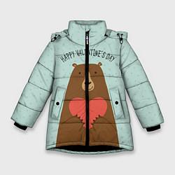 Куртка зимняя для девочки Медведь с сердцем цвета 3D-черный — фото 1