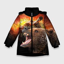 Куртка зимняя для девочки Защитник цвета 3D-черный — фото 1