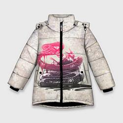 Куртка зимняя для девочки Three Days Grace: Acid snake цвета 3D-черный — фото 1